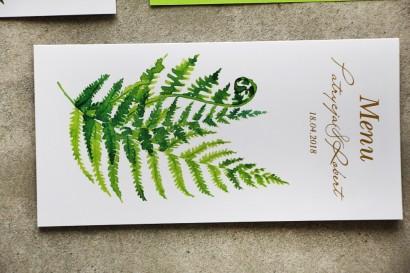 Zielone menu ślubne ze złoceniami. Złote menu ślubne, weselne z paprocią - Cykade nr 11