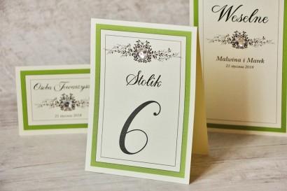 Numery stolików, stół weselny, ślub - Z Koronką nr 6 - Zielone akcenty, z cyrkonią, eleganckie dodatki ślubne