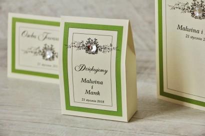 Pudełeczko stojące na cukierki, podziękowania dla Gości weselnych - Z Koronką nr 6 - Zielone - Eleganckie dodatki ślubne