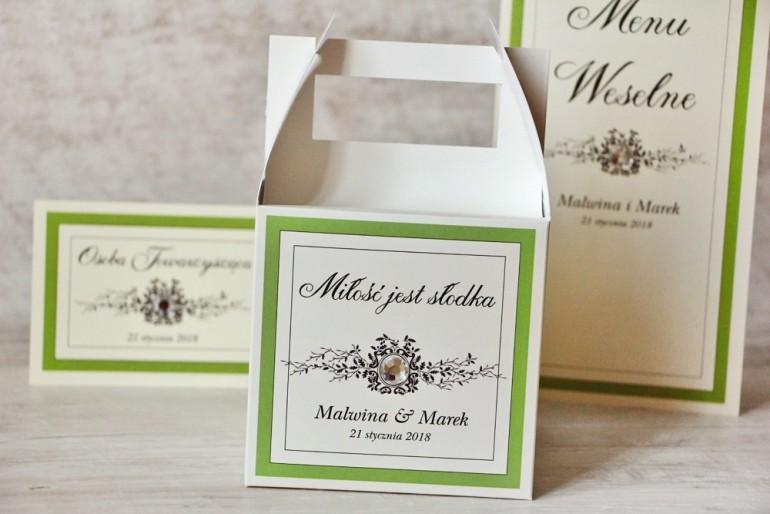 Pudełko na ciasto kwadratowe, tort weselny - Z Koronką nr 6 - Zielone - dodatki ślubne
