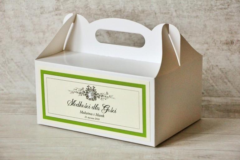 Prostokątne pudełko na ciasto, tort weselny, ślub - Z Koronką nr 6 - Zielone - dodatki ślubne z cyrkonią
