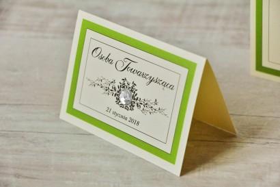Winietki na stół weselny, ślub - Z Koronką nr 6 - Zielone - eleganckie dodatki ślubne z cyrkonią