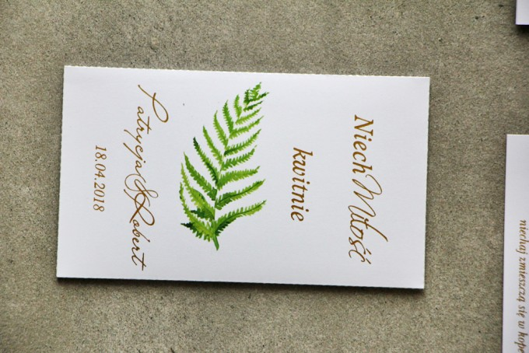 Podziękowania dla Gości weselnych - Nasiona Niezapominajki - Cykade nr 11 ze złoceniem - Intensywnie zielony liść paproci