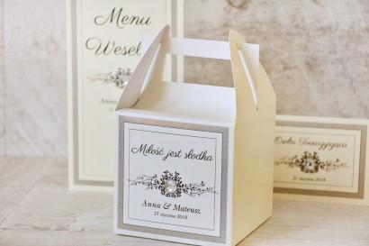 Pudełko na ciasto kwadratowe, tort weselny - Z Koronką nr 7 - Szare - z cyrkonią - dodatki ślubne