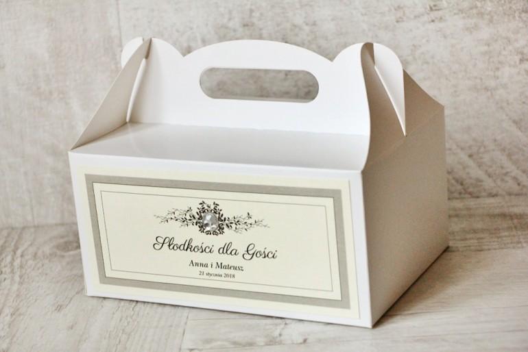 Prostokątne pudełko na ciasto, tort weselny, ślub - Z Koronką nr 7 - Szare - dodatki ślubne z cyrkonią