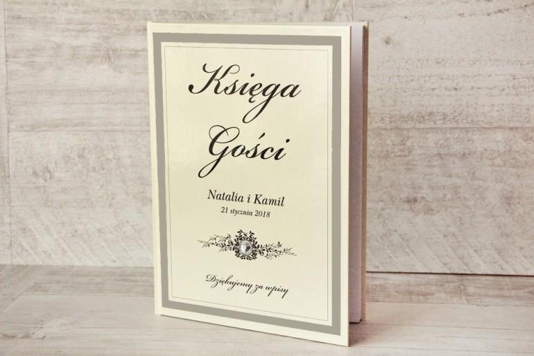 Księga Gości - dodatki ślubne, weselne - Z Koronką nr 7 - Szaro-kremowa - Elegancka z cyrkonią