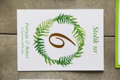 Numery stolików, stół weselny, Ślub - Cykade nr 11 ze złoceniem - Intensywnie zielona paproć