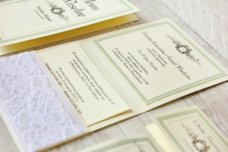 Zaproszenie ślubne, zaproszenia na ślub eleganckie z perełkami - Z Koronką nr 8 - Miętowe - wnętrze zaproszenia