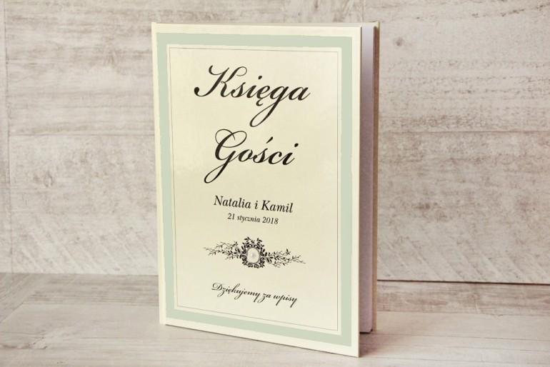 Księga Gości - dodatki ślubne, weselne - Z Koronką nr 8 - Miętowa - Elegancka z półperełką
