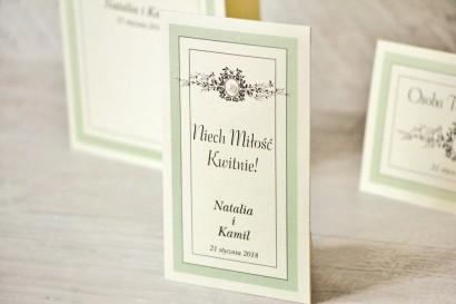 Podziękowania dla Gości weselnych - nasiona Niezapominajki - Z Koronką nr 8 - Miętowe - eleganckie dodatki ślubne z perełką