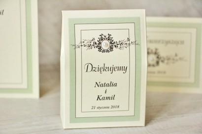 Pudełeczko stojące na cukierki, podziękowania dla Gości weselnych - Z Koronką nr 8 - Miętowe - Eleganckie dodatki ślubne