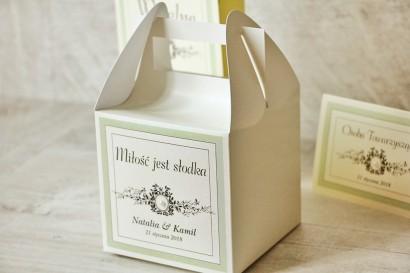 Pudełko na ciasto kwadratowe, tort weselny - Z Koronką nr 8 - Miętowe - dodatki ślubne z perełką