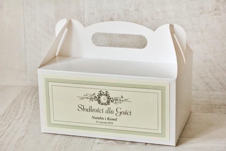 Prostokątne pudełko na ciasto, tort weselny, ślub - Z Koronką nr 8 - Miętowe - dodatki ślubne z perełką