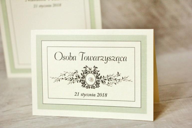 Winietki na stół weselny, ślub - Z Koronką nr 8 - Miętowe - eleganckie dodatki ślubne z perełką