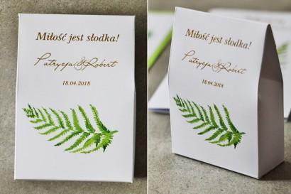 Pudełeczko na cukierki, podziękowania dla Gości weselnych - Cykade nr 11 ze złoceniem - Intensywnie zielony listek paproci