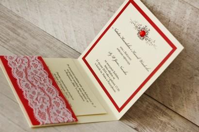 Zaproszenie ślubne, zaproszenia na ślub eleganckie z cyrkoniami - Z Koronką nr 9 - Czerwone - wnętrze zaproszenia