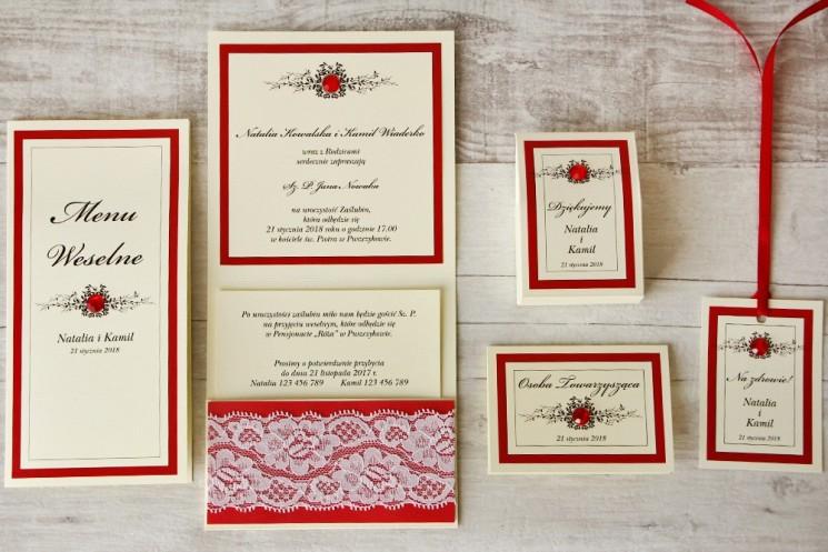 Zaproszenie ślubne z dodatkami - Z Koronką nr 9 - Czerwone - Eleganckie z cyrkoniami i koronką