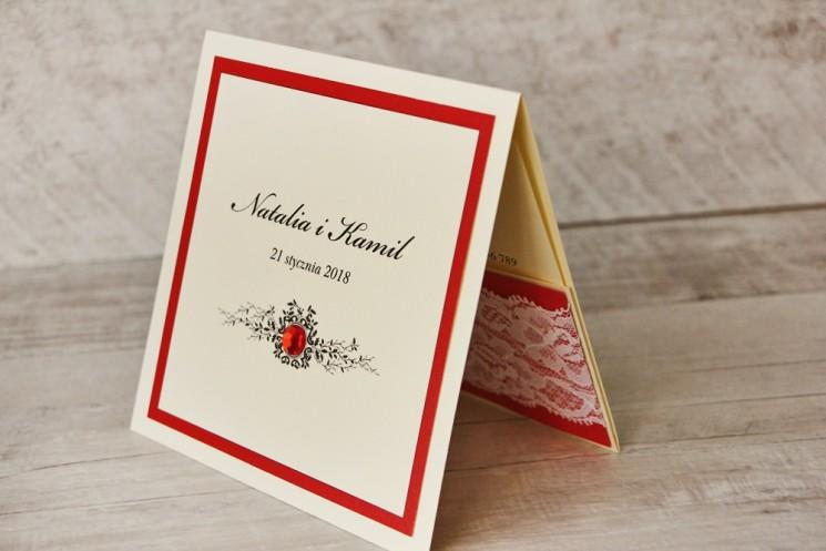 Zaproszenie ślubne, zaproszenia na ślub eleganckie z cyrkoniami - Z Koronką nr 9 - Czerwone