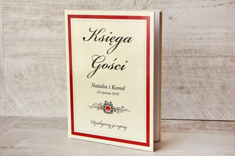 Księga Gości - dodatki ślubne, weselne - Z Koronką nr 9 - Czerwono-kremowa - Elegancka z cyrkonią