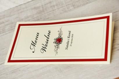 Menu weselne, stół weselny - Z Koronką nr 9 - Czerwone - eleganckie dodatki ślubne z cyrkonią