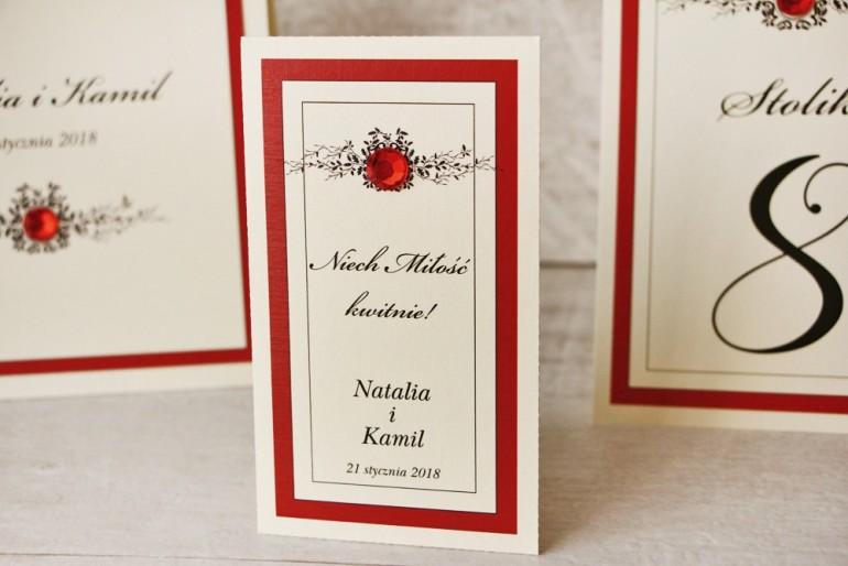 Podziękowania dla Gości weselnych - nasiona Niezapominajki - Z Koronką nr 9 - Czerwone - eleganckie dodatki ślubne z cyrkonią