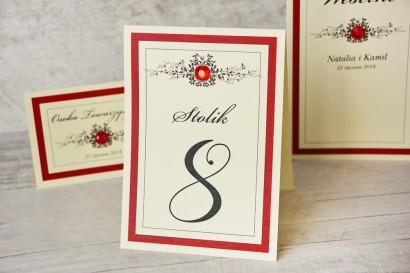 Numery stolików, stół weselny, ślub - Z Koronką nr 9 - Czerwone dodatki  ślubne, elegancka czerwień, z cyrkonią