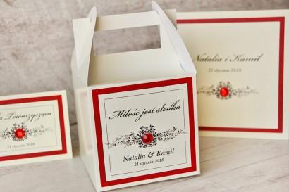 Pudełko na ciasto kwadratowe, tort weselny - Z Koronką nr 9 - Czerwone - dodatki ślubne z cyrkonią
