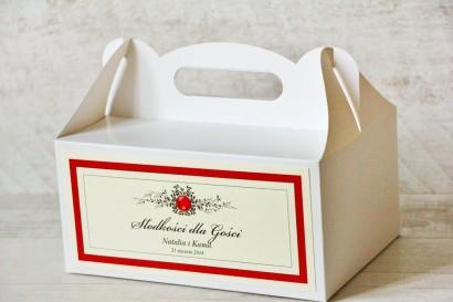 Prostokątne pudełko na ciasto, tort weselny, ślub - Z Koronką nr 9 - Czerwone - dodatki ślubne z cyrkonią