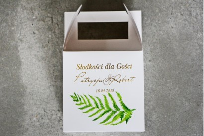 Pudełko na ciasto kwadratowe, tort weselny - Cykade nr 11 ze złoceniem - Intensywnie zielona paproć