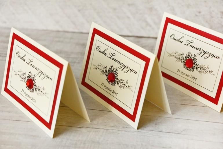 Winietki na stół weselny, ślub - Z Koronką nr 9 - Czerwone - eleganckie dodatki ślubne z cyrkonią