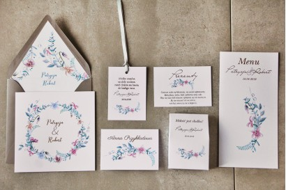 Zestw próbny - Zaproszenia ślubne ze złoceniem oraz dodatki i podziękowania dla gości weselnych
