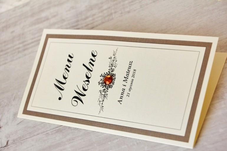 Menu weselne, stół weselny - Z Koronką nr 4 - Brązowe - eleganckie dodatki ślubne z cyrkonią