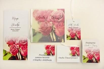 Zaproszenie ślubne z dodatkami - Elegant nr 1 - Róże - Eleganckie kwiatowe z kalką