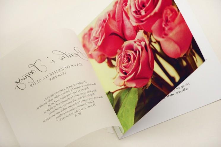 Zaproszenie ślubne, zaproszenia na ślub eleganckie z kalką - Elegant nr 1 - Róże
