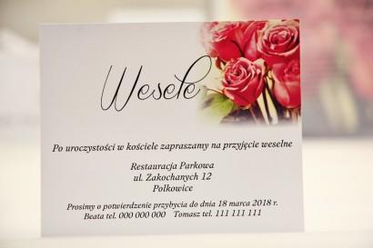 Bilecik do zaproszenia 120 x 98 mm prezenty ślubne wesele - Elegant nr 1 - Eleganckie róże