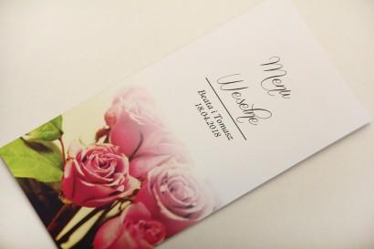 Menu weselne, stół weselny - Elegant nr 1 - Róże - Eleganckie kwiatowe wzory - dodatki ślubne