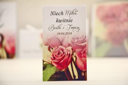 Podziękowania dla Gości weselnych - nasiona Niezapominajki - Elegant nr 1 - Róże - kwiatowe dodatki ślubne