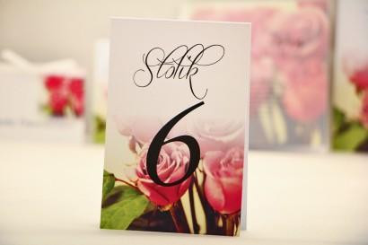 Numery stolików, stół weselny, ślub - Elegant nr 1 - Róże - dodatki ślubne kwiatowe