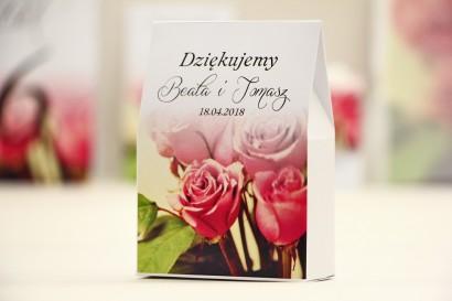 Pudełeczko stojące na cukierki, podziękowania dla Gości weselnych - Elegant nr 1 - Róże - Kwiatowe dodatki ślubne