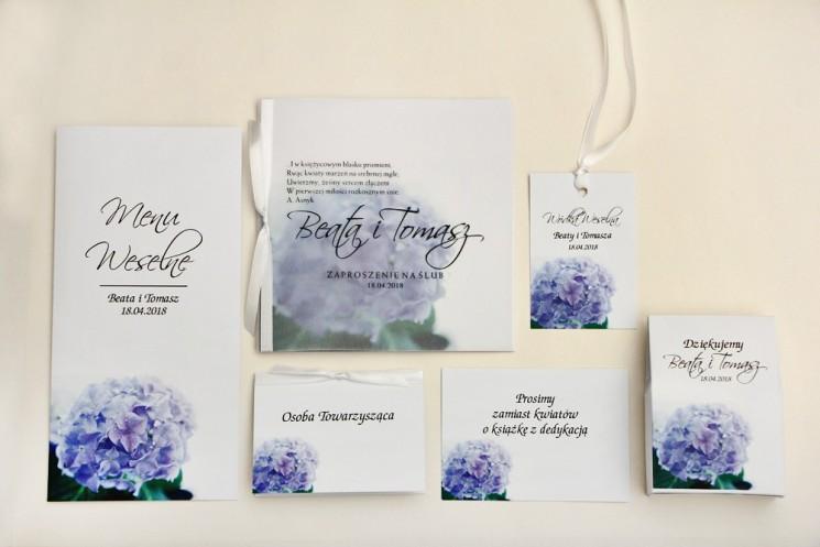 Zaproszenie ślubne z dodatkami - Elegant nr 2 - Niebieskie hortensje - Eleganckie kwiatowe z kalką
