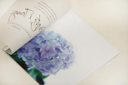 Zaproszenie ślubne, zaproszenia na ślub eleganckie z kalką - Elegant nr 2 - niebieskie hortensje