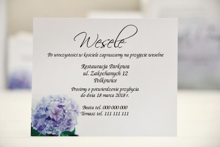 Bilecik do zaproszenia 120 x 98 mm prezenty ślubne wesele - Elegant nr 2 - Niebieskie hortensje