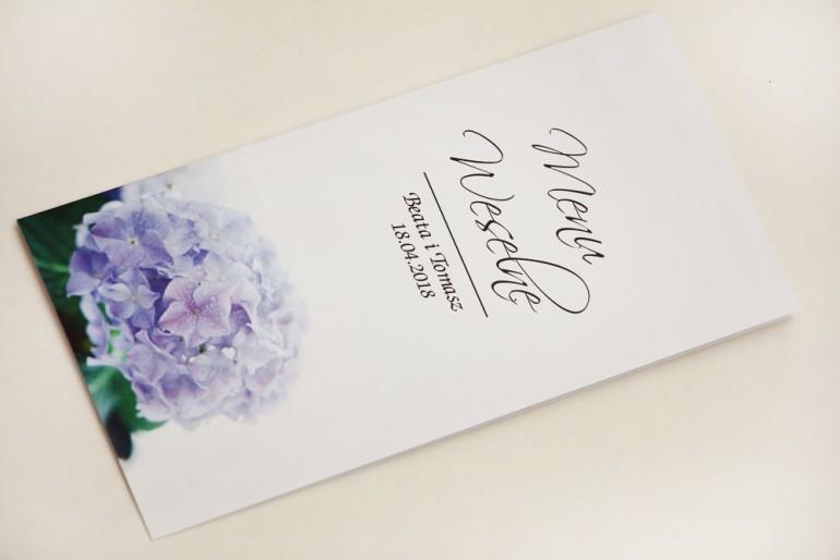 Menu weselne, stół weselny - Elegant nr 2 - Niebieskie hortensje - Eleganckie kwiatowe wzory - dodatki ślubne