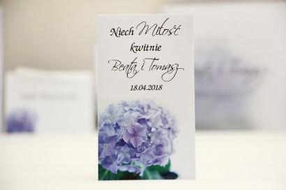 Podziękowania dla Gości weselnych - nasiona Niezapominajki - Elegant nr 2 - Liliowa hortensja - kwiatowe dodatki ślubne