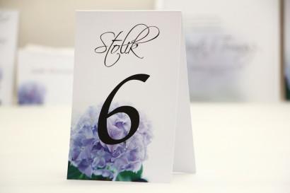 Numery stolików, stół weselny, ślub - Elegant nr 2 - Niebieskie hortensje - dodatki ślubne