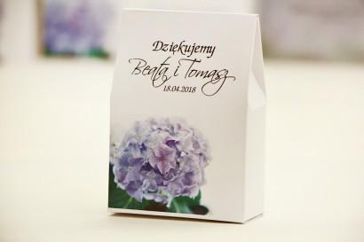 Pudełeczko stojące na cukierki, podziękowania dla Gości weselnych - Elegant nr 2 - Hortensje - Kwiatowe dodatki ślubne