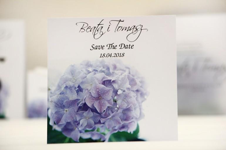 Bilecik Save The Date do zaproszenia ślubnego - Elegant nr 2 - Niebieskie hortensje