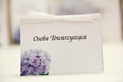 Winietki na stół weselny, ślub - Elegant nr 2 - Liliowe hortensje - kwiatowe dodatki ślubne