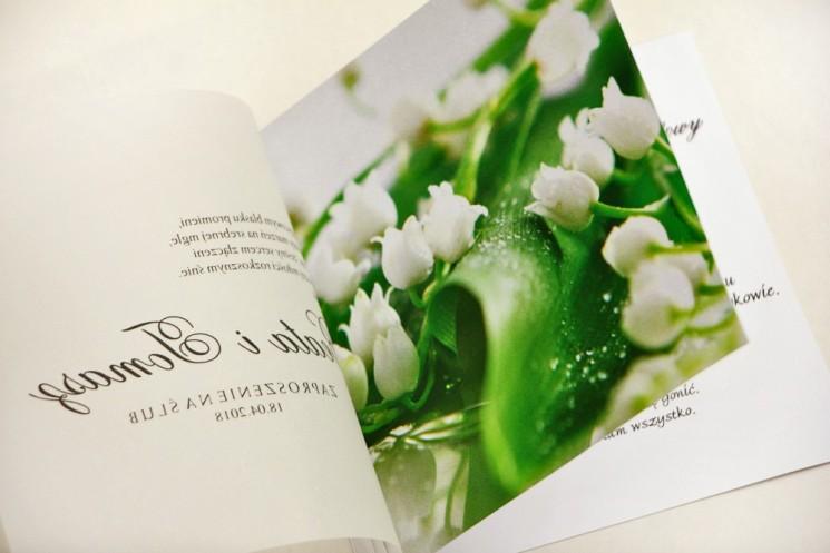 Zaproszenie ślubne, zaproszenia na ślub eleganckie z kalką - Elegant nr 3 - Białe konwalie