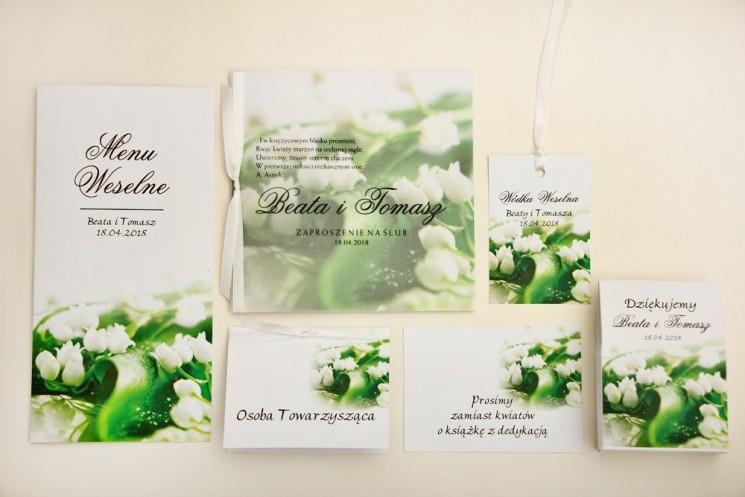 Zaproszenie ślubne z dodatkami - Elegant nr 3 - Białe konwalie - Eleganckie kwiatowe z kalką